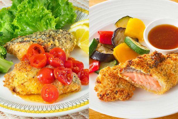 【数量限定】旨みたっぷりトマトソースで食べる肉厚あじの香味焼き&鮭の香味パン粉焼きセット