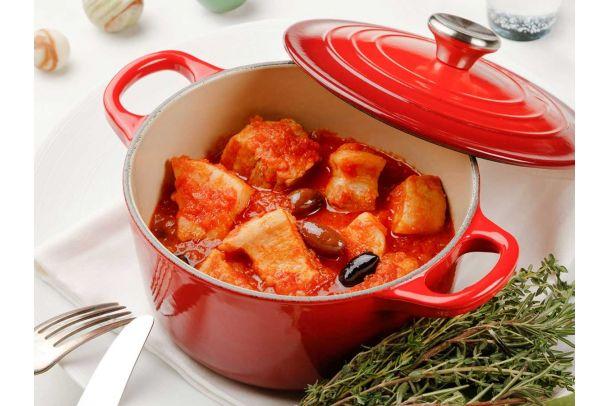 豚バラ肉とオリーブのトマト煮こみ