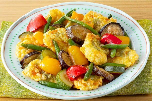 サクサク!梅肉入り鶏天ぷらとグリル野菜
