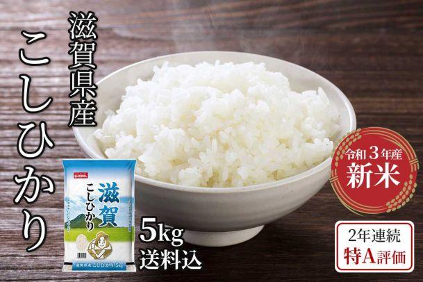 【令和3年新米】滋賀県産 こしひかり 5kg(送料込)